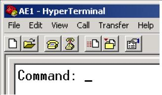 AE1 - AlphaCom Digital Network Board - The AE1 command prompt in HyperTerminal.jpg